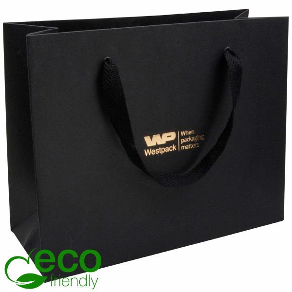 ECO Luxe papieren draagtasje, stevig karton, groot Zwart kraftpapier/ Zwart stoffen handvat 250 x 200 250 gsm