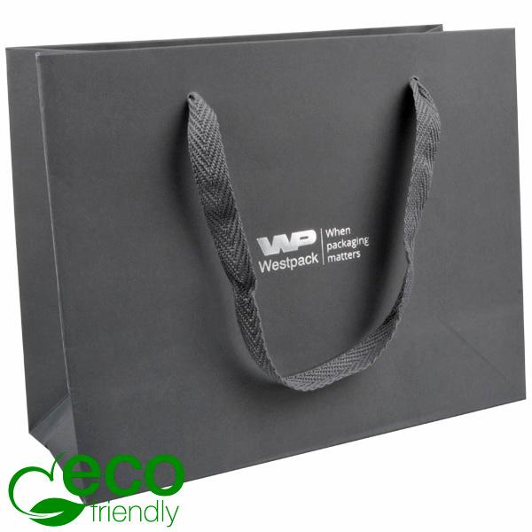 ECO Luxe papieren draagtasje, stevig karton, groot Grijs kraftpapier/ Gevlochten grijs handvat 250 x 200 x 100 250 gsm