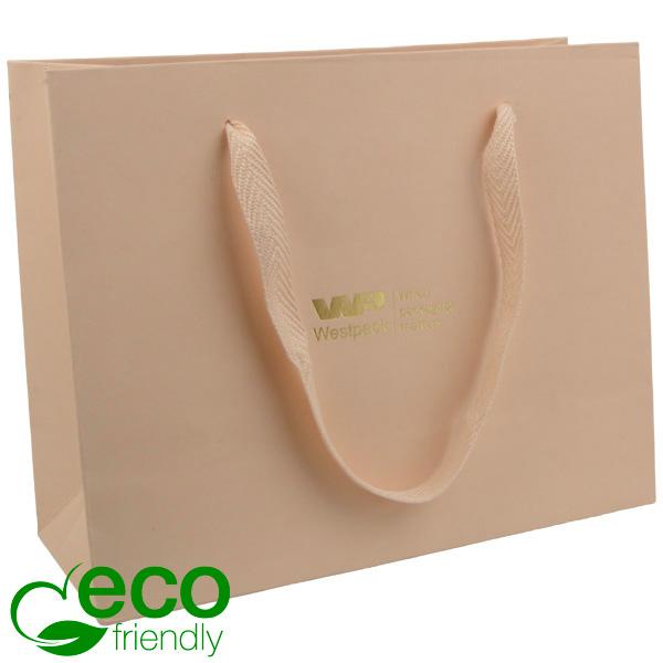 ECO Sac papier de luxe en carton robuste, grand Papier kraft beige chaud/Poignées en tissu beige 250 x 200 x 100 250 gsm