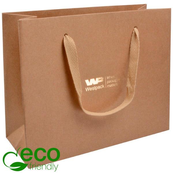 ECO Luxe papieren draagtasje, stevig karton, groot Naturel kraftpapier/ Naturel stoffen handvat 250 x 200 x 100 250 gsm