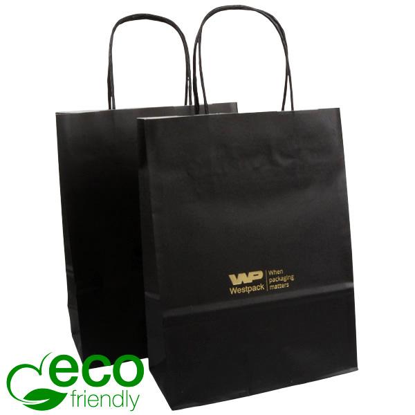 ECO Budget draagtasje van kraftpapier, klein Mat zwart papier 240 x 180 x 80 90 gsm