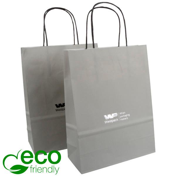 ECO Budget draagtasje van kraftpapier, klein Mat grijs papier 240 x 180 x 80 90 gsm
