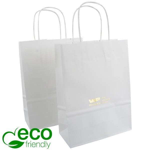 ECO Budget draagtasje van kraftpapier, klein Mat wit papier 240 x 180 x 80 90 gsm