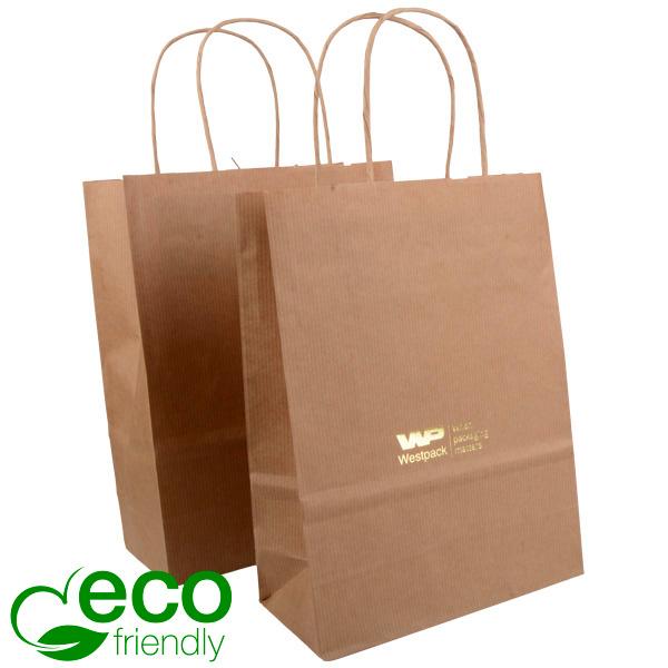 ECO Budget draagtasje van kraftpapier, klein Mat naturel kraftpapier, met nerf 240 x 180 x 80 90 gsm