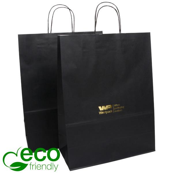Budget draagtasje van kraftpapier, groot Mat zwart papier 420 x 320 x 150 100 gsm