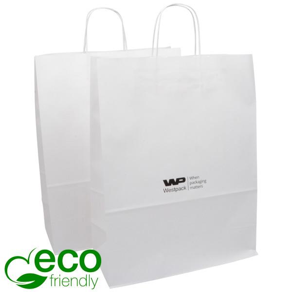 Budget draagtasje van kraftpapier, groot Mat wit papier 420 x 320 x 150 100 gsm