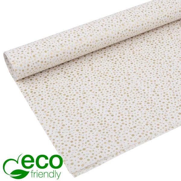 Milieuvriendelijk Vloeipapier, 240 vellen Wit met gouden stippen 750 x 500 24 gsm