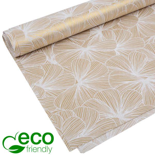 Milieuvriendelijk Vloeipapier, 240 vellen Wit en goud bloemenmotief 750 x 500 24 gsm