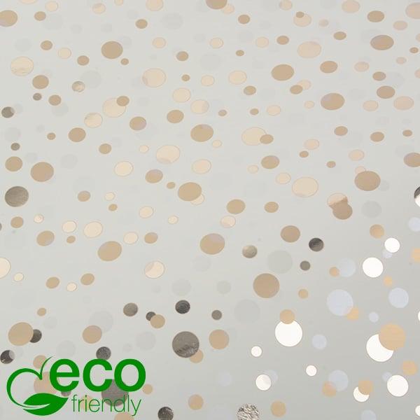 Milieuvriendelijk cadeaupapier nº 1010 ECO Crème papier met gouden en zilveren stippen   30 cm - 100 m