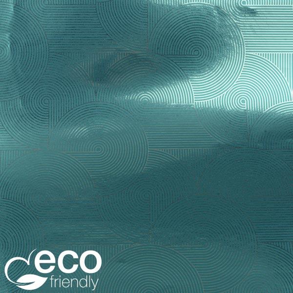 Milieuvriendelijk cadeaupapier nº 1035 ECO Petroleumkleurig papier met zilveren opdruk   40 cm - 100 m - 76 g