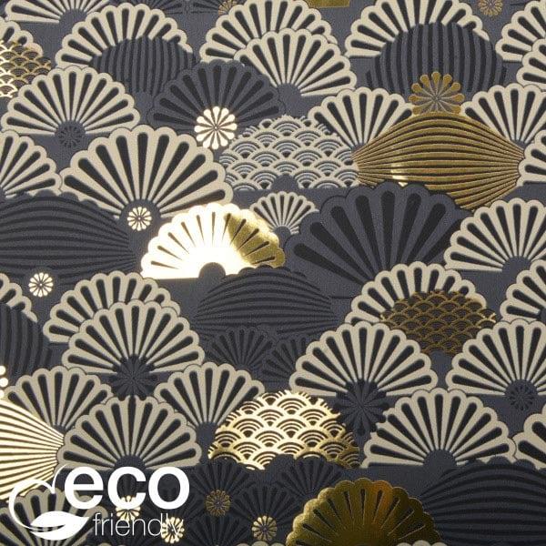 Milieuvriendelijk cadeaupapier nº 1135 ECO Donkergrijs met motief in goudkleur, beige & zwart  40 cm - 100 m