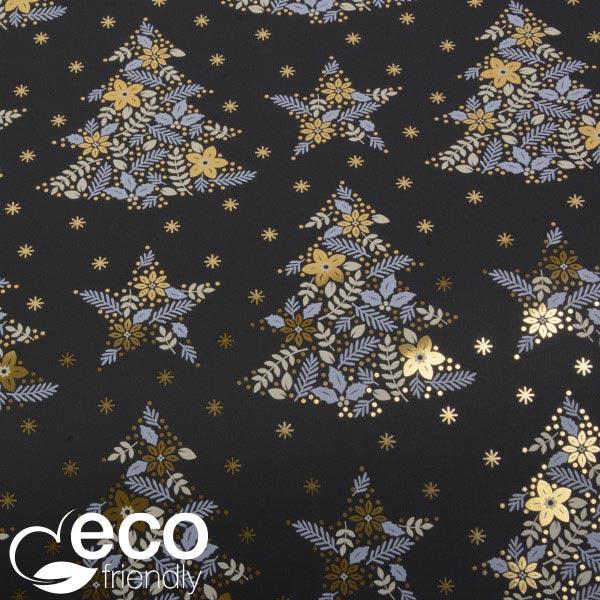 Milieuvriendelijk cadeaupapier nº 1156 ECO Zwart met kerstmotief in goudkleur, grijs en wit  50 cm - 100 m