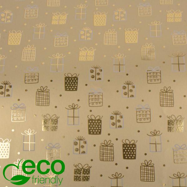 Milieuvriendelijk cadeaupapier nº 1169 ECO Goud, met kleine stippen en cadeautjes  50 cm - 100 m