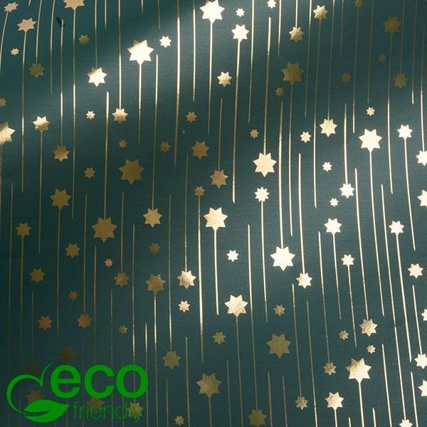 Milieuvriendelijk cadeaupapier nº 1217 ECO Groen papier met gouden sterren  50 cm - 100 m