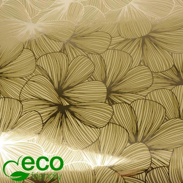 Milieuvriendelijk cadeaupapier nº 1443 ECO Goud met bloemenprint  20 cm - 100 m