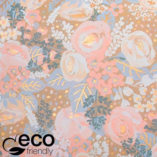 ECO cadeaupapier 1766 Naturel met vintage bloemenpatroon in lichtroze  20 cm - 100 m