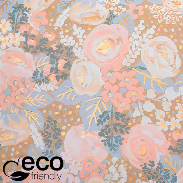 ECO cadeaupapier 1766 Naturel met vintage bloemenpatroon in lichtroze  50 cm - 100 m