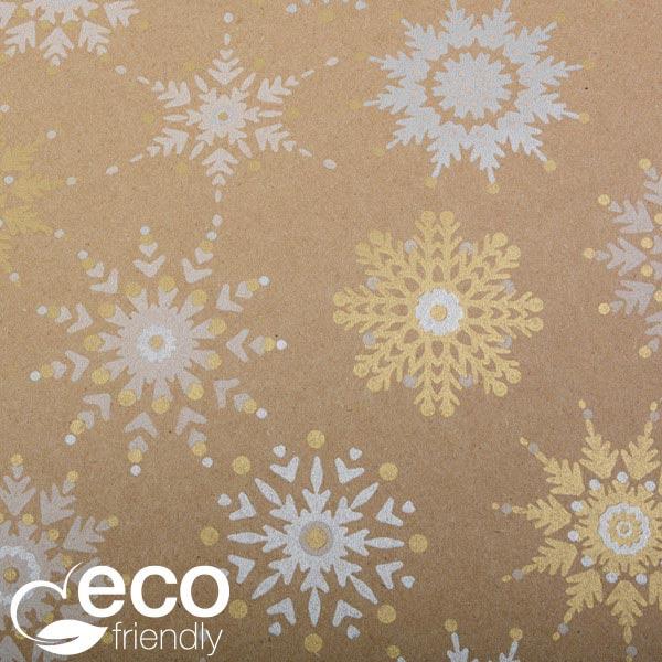Milieuvriendelijk cadeaupapier nº 1844 ECO Bruin kraftpapier met veelkleurige sneeuwvlokken  20 cm - 100 m - 70 g
