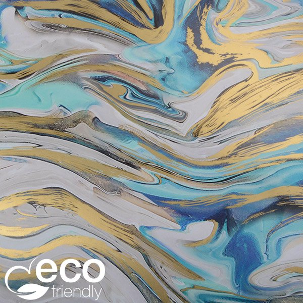Milieuvriendelijk cadeaupapier 2014 ECO Marmerpatroon met blauwe en gouden accenten  20 cm - 100 m