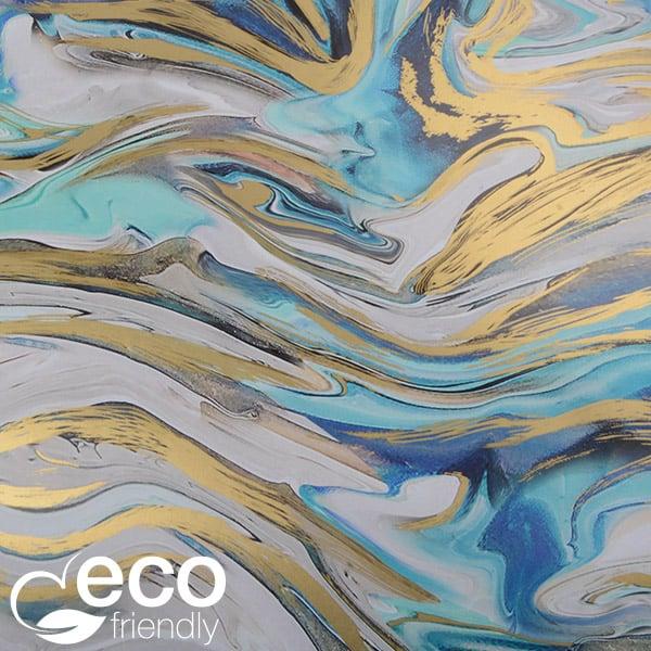 Milieuvriendelijk cadeaupapier 2014 ECO Marmerpatroon met blauwe en gouden accenten  50 cm - 100 m - 80 g