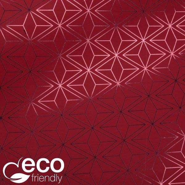 Milieuvriendelijk cadeaupapier nº 3830 ECO Rood papier met grafisch patroon  40 cm - 100 m