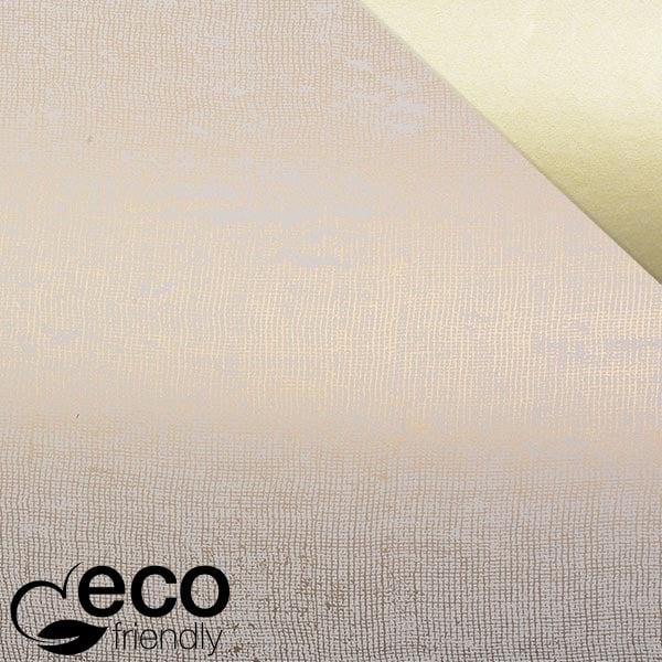 ECO cadeaupapier 3841 Creme met linnen-look in goud, dubbelzijdig  20 cm - 160 m