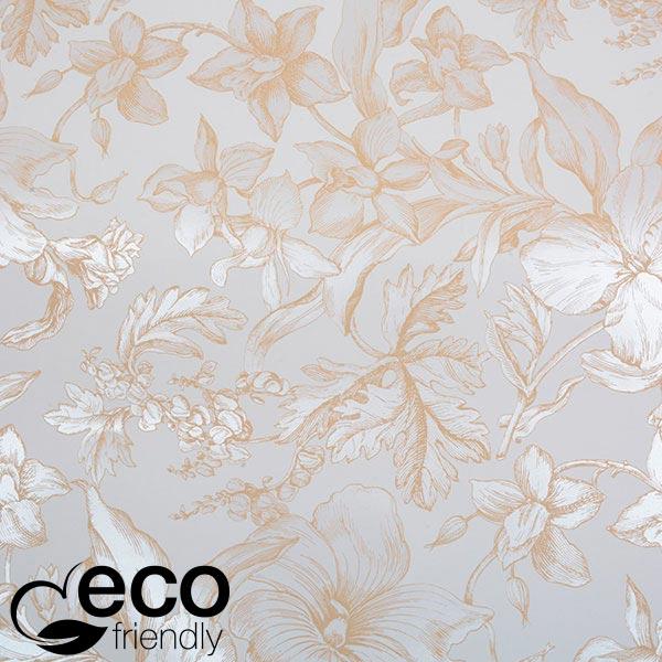 ECO cadeaupapier 6341 Wit met pearl bloemenprint  30 cm - 100 m