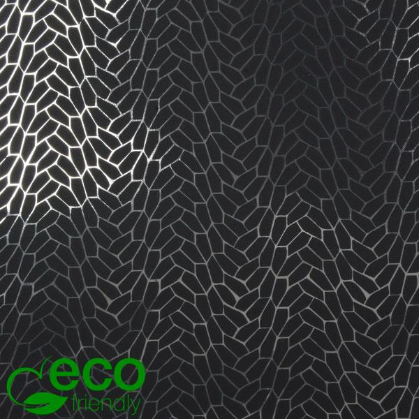 Milieuvriendelijk cadeaupapier nº 7360 ECO Zwart papier met grafische zilveren opdruk   50 cm - 100 m - 74 g
