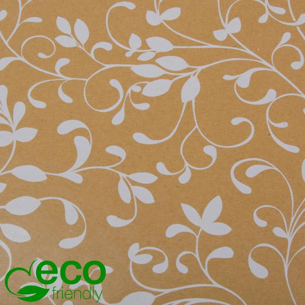 Milieuvriendelijk cadeaupapier 9081 ECO Mat naturel bruin kraftpapier met witte krullen  30 cm - 100 m