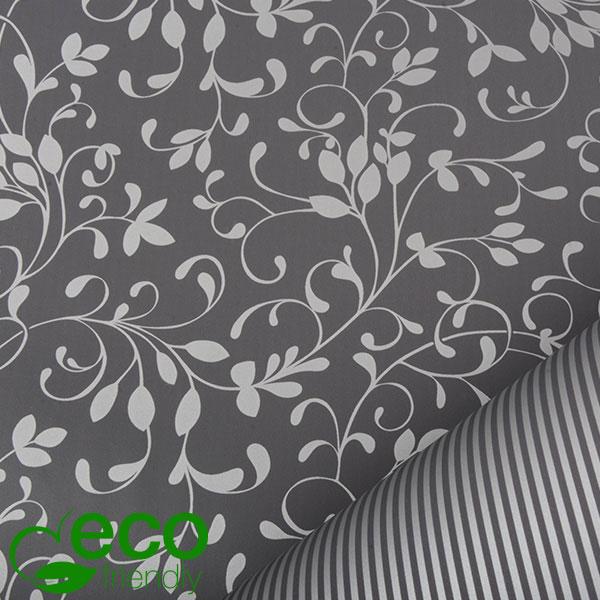 ECO cadeaupapier 9130 Grijs met zilveren bloemen/ strepen, dubbelzijdig  50 cm - 150 m - 80 g