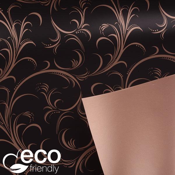 ECO Cadeaupapier 9132 Mat zwart met krullenpatroon in glanzend koper  50 cm - 100 m