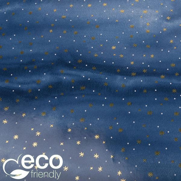 Milieuvriendelijk cadeaupapier nº 9202 ECO Blauw, witte stippen en goudkleurige sneeuwvlokken  30 cm - 100 m