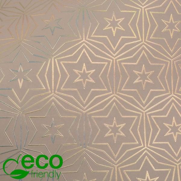 Milieuvriendelijk cadeaupapier nº 9212 ECO Roze papier met gouden sterren  30 cm - 100 m