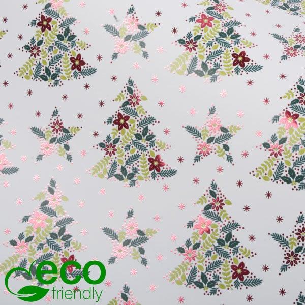 Milieuvriendelijk cadeaupapier nº 9902 ECO Wit papier met kerstmotief in groen en rood  40 cm - 100 m