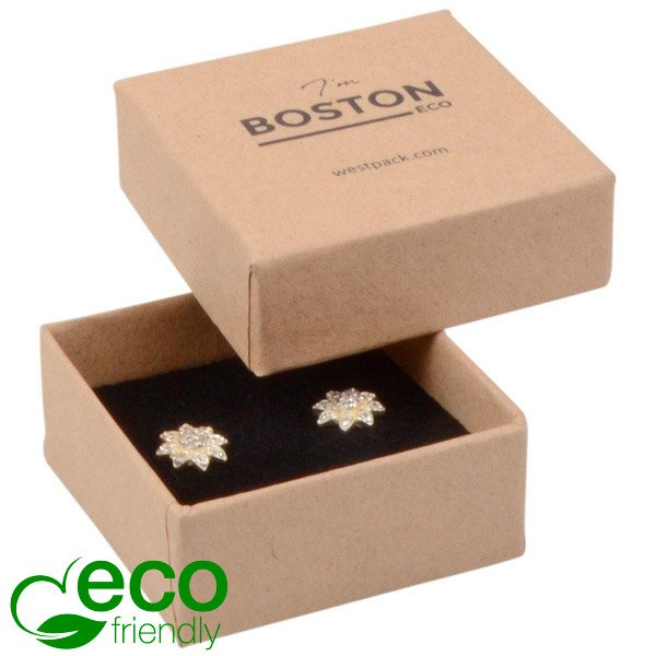 Grootverpakking -  Boston Eco doosje oorsieraden Naturel karton / Zwart foam 50 x 50 x 22