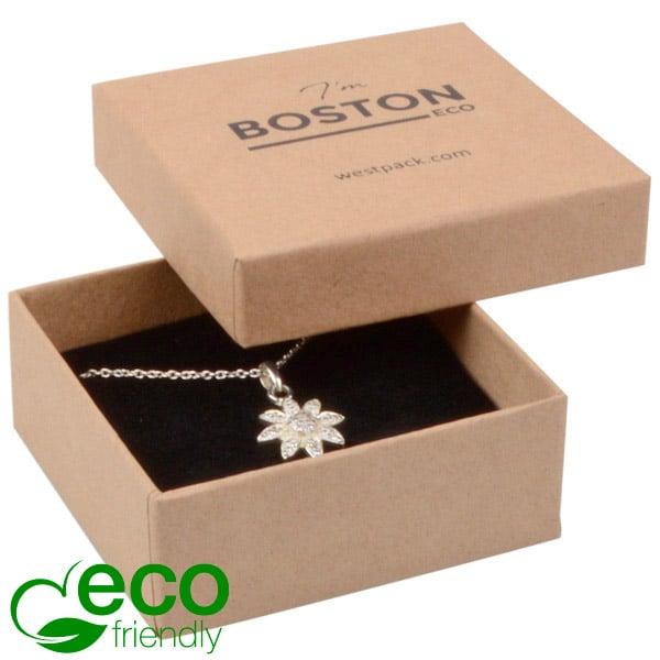 Grootverpakking -  Boston Eco doosje hanger/oorbel Naturel karton / Zwart foam 65 x 65 x 25