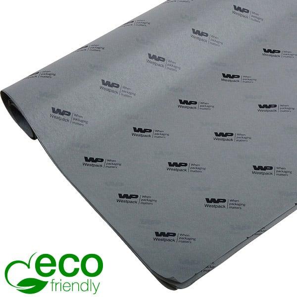 ECO Zijdevloeipapier m/bedrukking, kleine vellen Grijs met zwart bedrukking 350 x 500 17 gsm