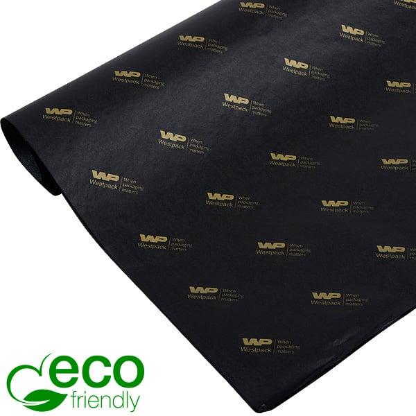 ECO Zijdevloeipapier m/bedrukking, kleine vellen Zwart met bedrukking in goud 350 x 500 17 gsm
