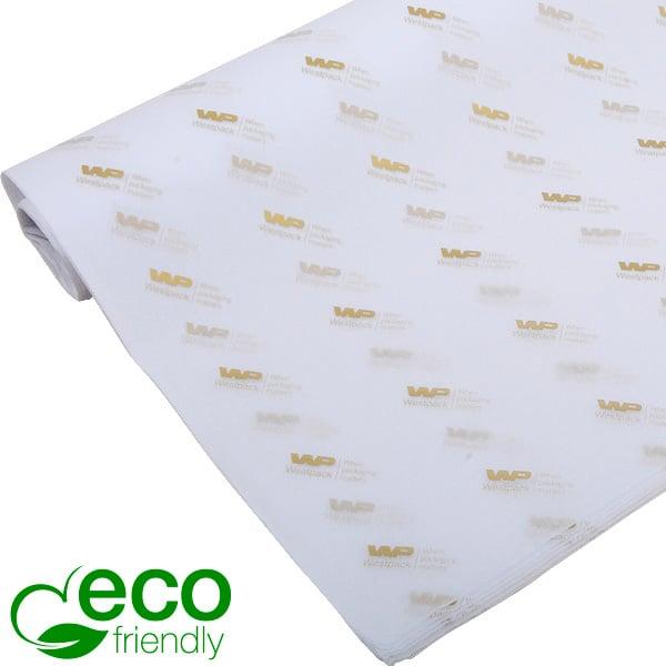 ECO Zijdevloeipapier m/bedrukking, kleine vellen Wit met bedrukking in goud 350 x 500 17 gsm
