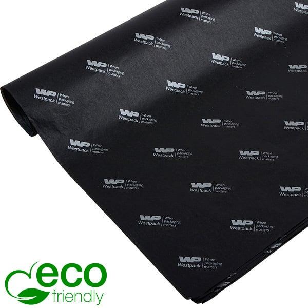 ECO Zijdevloeipapier m/bedrukking, kleine vellen Zwart met bedrukking in zilver 350 x 500 17 gsm