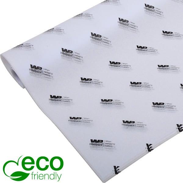 ECO Zijdevloeipapier m/bedrukking, grote vellen Wit met zwart bedrukking 700 x 500 17 gsm