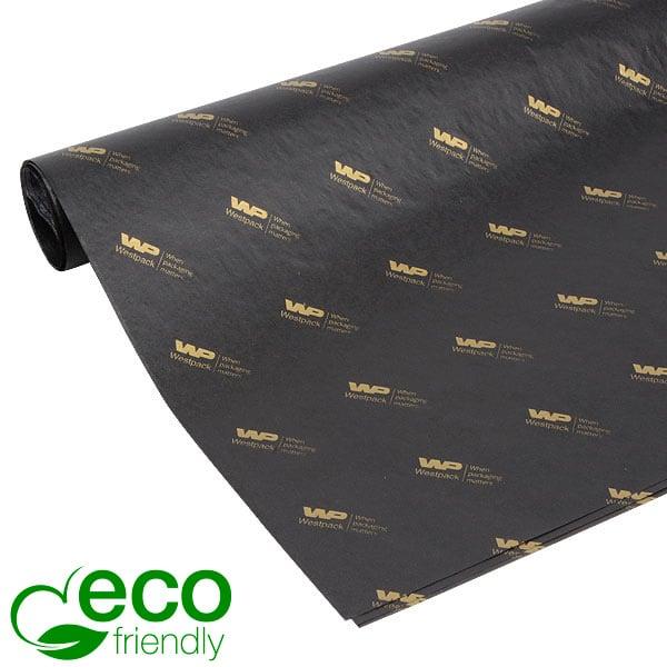 ECO Zijdevloeipapier m/bedrukking, grote vellen Zwart met bedrukking in goud 700 x 500 17 gsm