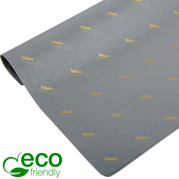 ECO Zijdevloeipapier m/bedrukking, grote vellen Grijs met bedrukking in goud 700 x 500 17 gsm
