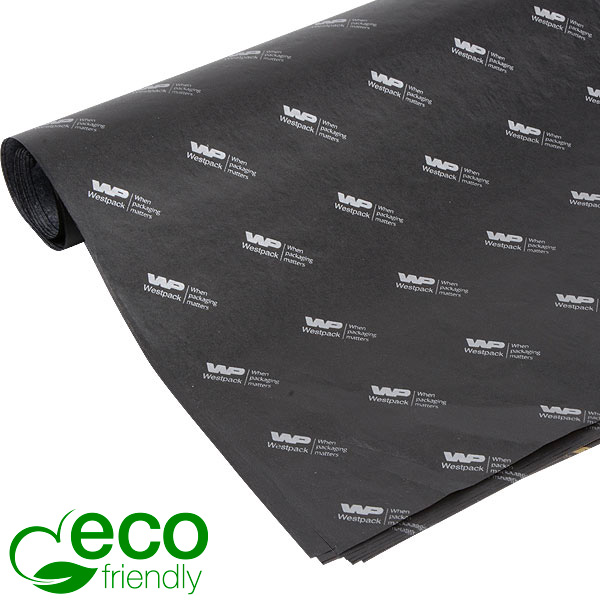 ECO Zijdevloeipapier m/bedrukking, grote vellen Zwart met bedrukking in zilver 700 x 500 17 gsm