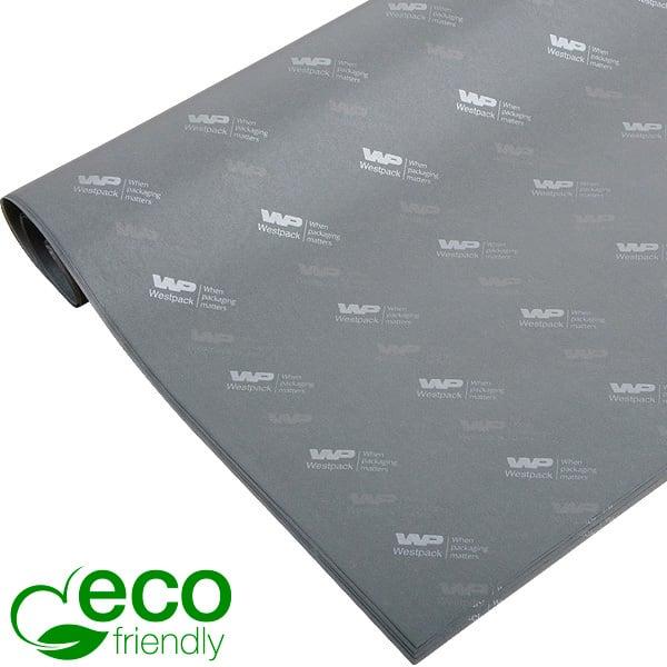 ECO Zijdevloeipapier m/bedrukking, grote vellen Grijs met bedrukking in zilver 700 x 500 17 gsm