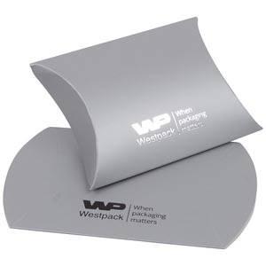Plano Fix Flat-packed Pillow Gift Box, Small Matt Silver Cardboard 70 x 70 x 22