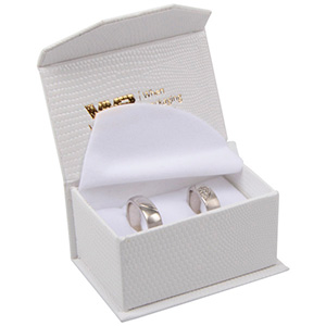 Nice Jewellery Box for Wedding Rings / Cufflinks Cream Croco Leatherette Cardboard/ White Foam 67 x 45 x 35