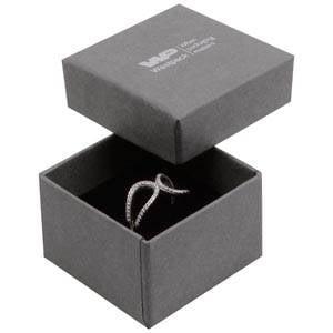 Boston sieradendoosje voor ring Grijs karton met linnen structuur / Zwart foam 50 x 50 x 32