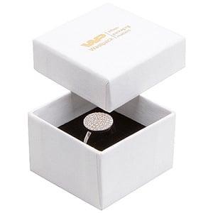 Boston sieradendoosje voor ring Wit karton met linnen structuur / Wit-zwart foam 50 x 50 x 32