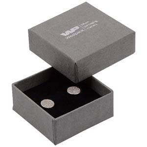 Boston sieradendoosje voor oorbellen/ oorknopjes Grijs karton met linnen structuur / Zwart foam 50 x 50 x 22